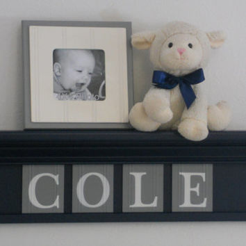 "NAVY BLUE Personalized Children Nursery Wall Decor 24"" Gray Shelf with 4 Wooden Letter Navy Blue Plaques - Custom for COLE"