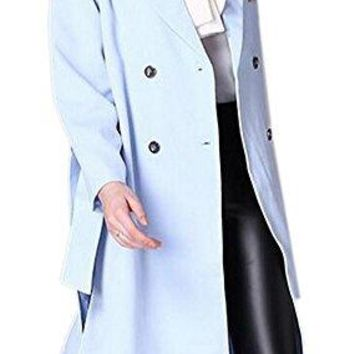 Women's Fashion Double-Breasted Slim Fit Skirted Trench Coat with Belt Blue