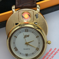 2017 New Rechargeable USB Lighter Watches Men's Quartz watches can be replace heating wire Windproof Flameless Cigarette Lighter