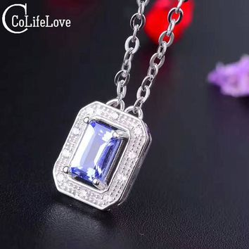 CoLife Jewelry Vintage rectangle pendant 6mm*4mm flawless natural tanzanite necklace pendant solid 925 silver tanzanite jewelry