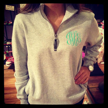Monogrammed Quarter-Zip Sweatshirt - Order NOW for Fall and Christmas 2013