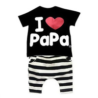 I Love Papa Mama  Baby Suits Boy Girl Short Sleeve T-shirt Tops + Striped Shorts Pants Clothes Sets