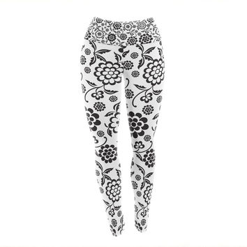"Nicole Ketchum ""Cherry Floral White"" Yoga Leggings"