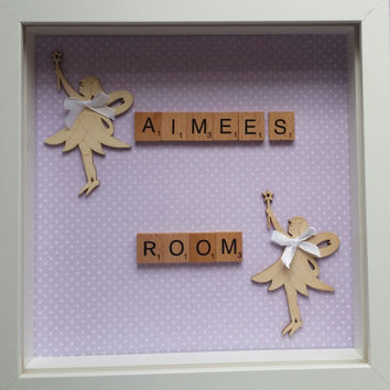 Childs room frame fairies photo frame personalised read me a story tuck me in tight scrabble family White box frame keepsake frame handmade