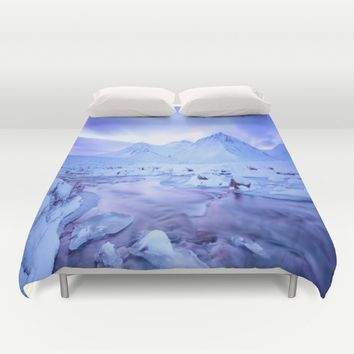 Freezing Mountain Lake Landscape : Blue Duvet Cover by 2sweet4words Designs