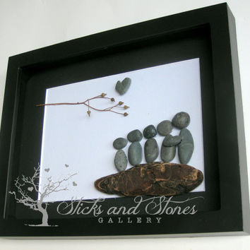 Christmas Gift for Family of 5- Pebble Art Family of Five - Family of Five Gift - Family of 5 Christmas Present - Pebble Art Christmas Gifts
