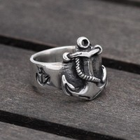 Nautical Anchor ring in Sterling Silver, FIRST MATE -  men and women ring - wedding, engagement.