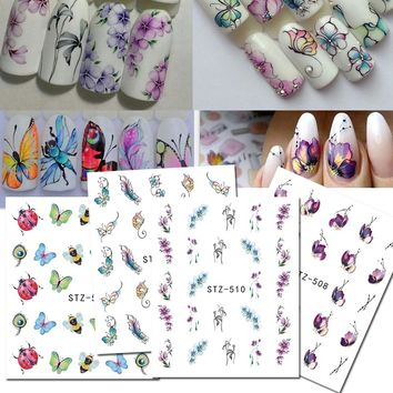 1Sheet Flower/Butterfly Pattern Nail Art Water Transfer Stickers Beauty Tattoo Decals Beauty Manicure Nail Decor BESTZ507-510
