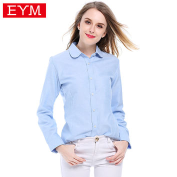 EYM Brand Women's Shirt 2017 Women Blouses Plus Size Long Sleeve Shirts Cotton Blue Solid Color Oxford Casual Blusas Female Tops
