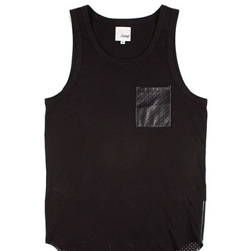BLACK CURVED PLEATHER HEM TALL TANK