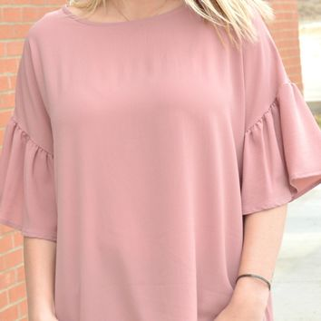 Not A Moment To Spare Top - Dusty Rose