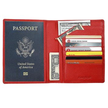 Fancystyle Soft Travel Leather RFID Passport Wallet Cover Style Passport Organizer for Men Women Black Yellow Red Rose