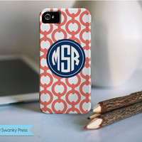 Monogram Personalized iPhone Case for iPhone 5, 4 or 3 - chain link pattern preppy