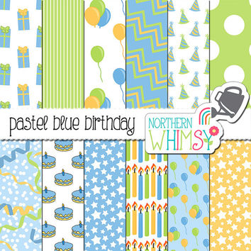 Birthday Digital Paper Pack – pastel blue, yellow, and green birthday paper - printable paper - boy birthday scrapbook paper -commercial use