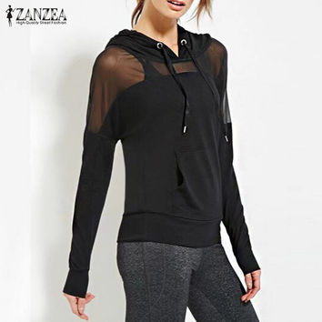 New Arrival Women Sweatshirt 2017 Autumn ZANZEA Hoodies Sexy Mesh See Through Hooded Blusas Long Sleeve Patchwork Casual Tops