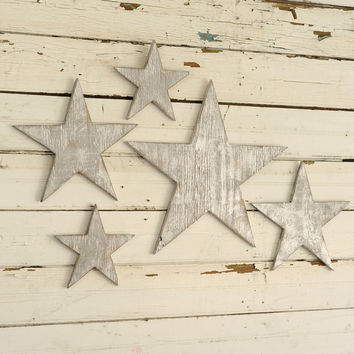 Wooden Star Set Wall Art Decor 5 Piece Set