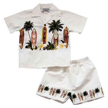 Surfboard White Hawaiian Boy Shirt & Shorts Set