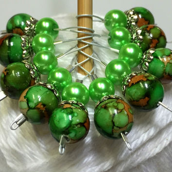Green & Brown Wire Loop Stitch Markers