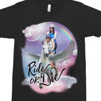 Ride Or Die - Broad City Shirt - Pegasus T-Shirt - Fantasy Shirt - Feminist Shirt - Funny T-Shirt - Pop Culture T-Shirt - Rainbow Shirt