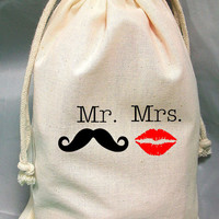 8x12 Drawstring Bags- Wedding Favor-Party Favor - Pick SIze - Muslin Bag -Mr and Mrs Mustache and lips  - Customize