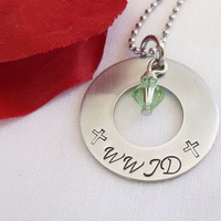 Religious Necklace - WWJD What Would Jeus Do - Faith Jewelry - Name necklace - cross - hand stamped - stainless steel