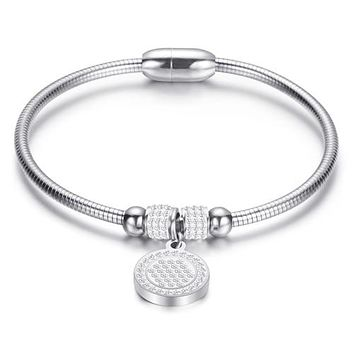 Quality Stainless Steel Crystal Coin Charm Bracelet