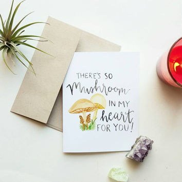 Valentine's day card, funny valentine's day card, card for him, card for her, card for mom, thinking of you cards, love cards, mushroom card