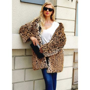 fb5c7f7ae468 New Fashion Women Faux Fur Coat Leopard Fur Jacket Hooded Long Outerwear  Coat Ladies Warm Fake