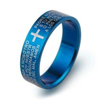 Classic  Biblical Cross Ring 316L Titanium Steel Jewelry  Cool father Fr. Finger Rings blue women Men's Three Colors