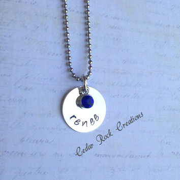 Personalized Birthstone Necklace - Hand Stamped Jewelry