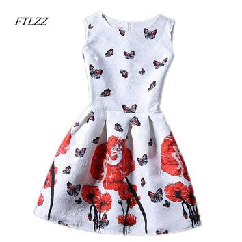 FTLZZ New Summer Women Floral Print Dress Sleeveless O Neck Vintage Casual Dresses Colorful Knee Length Dress
