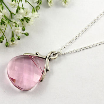 Bridesmaid Necklace in Sterling Silver - Light Rose Swarovski Crystals, Pink