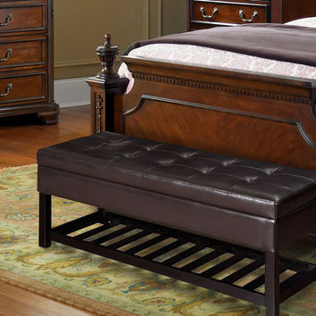 """Brown Bonded Leather Rectangular Tufted Storage Ottoman Footstool Seat with Bottom Shelf 44x17"""""""