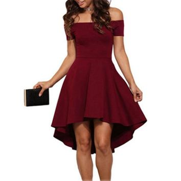 Sexy Womens A-Line Summer Party Dresses Off Shoulder Skater Midi Dress High Low