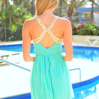 Green Deep V-Neck Backless Sequins Cross Chiffon A-line Pleated Mini Dress