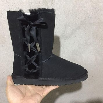 ESBON UGG 1017531 Side Lace-Up Women Men Fashion Casual Wool Winter Snow Boots Black