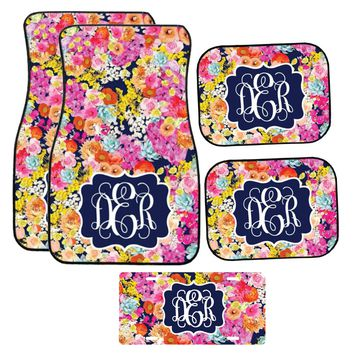 Navy Floral Car Mat /Plate & Frame / Seat belt cover / Key Chain / Car Coaster / Car Accessory Gift  Set