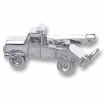 Tow Truck Charm In Sterling Silver