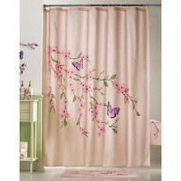 Cherry Blossom & Butterflies Pink Shower Curtain By Collections Etc