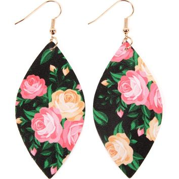 Floral Marquise Leather Earrings