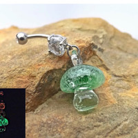 Glow In the Dark Green Glass Mushroom Belly Ring Body Jewelry 14ga