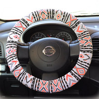 Steering wheel cover wheel car accessories Aztec Neon Orange Steering Wheel Cover