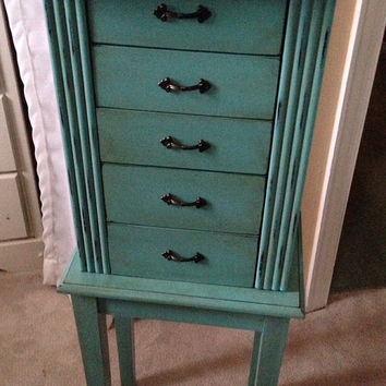 Hand Painted jewelry Armoire Turquoise