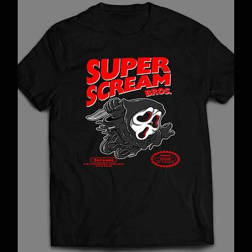 SUPER SCREAM BROS X RETRO VIDEO GAME PARODY HALLOWEEN T-SHIRT