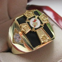 Knights TEMPLAR Past Commander Crest Masonic Copper Ring