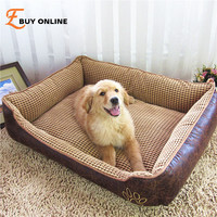 Big Size extra large Waterproof PU leather dog bed House sofa Kennel washable Soft Fleece Corn velvet Pet Dog Cat Warm Bed