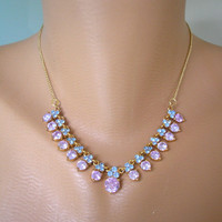 Amethyst Rhinestone Necklace, Purple and Blue Necklace, Mother of the Bride, Lavender Bridal, Periwinkle Blue, Blue Wedding, Great Gatsby