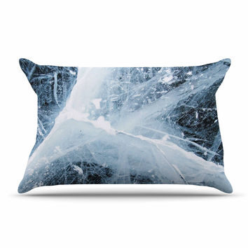 "KESS Original ""Deep Winter"" Blue White Pillow Case"