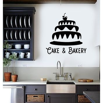 Vinyl Wall Decal Cake Bakery Bakeshop Kitchen Confectionary Sweets Stickers Mural (g3070)