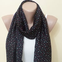 Back to School, Women Scarf, Scarf, Scarves, holiday scarf, accessories, gifts, chiffon, scarf, Black scarf polkadot